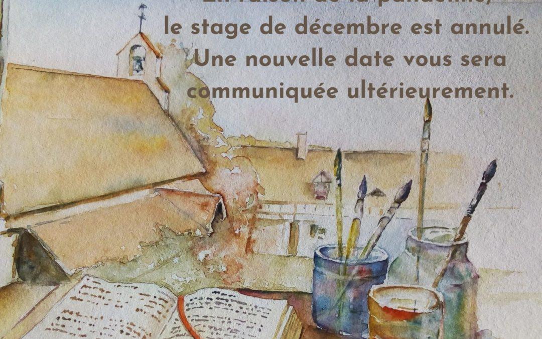 """COVID 19 –  Annulation du Stage """"Parole et aquarelle"""" 4-6 décembre 2020"""